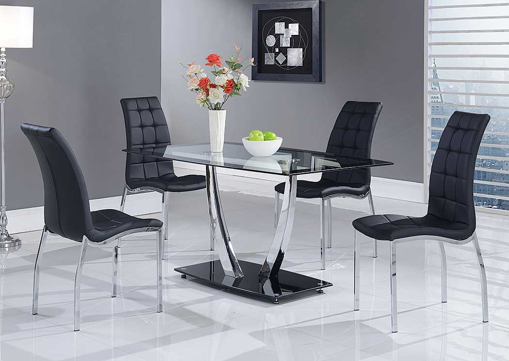 Black Dining Table & 4 Black Dining Chairs,Global Furniture USA