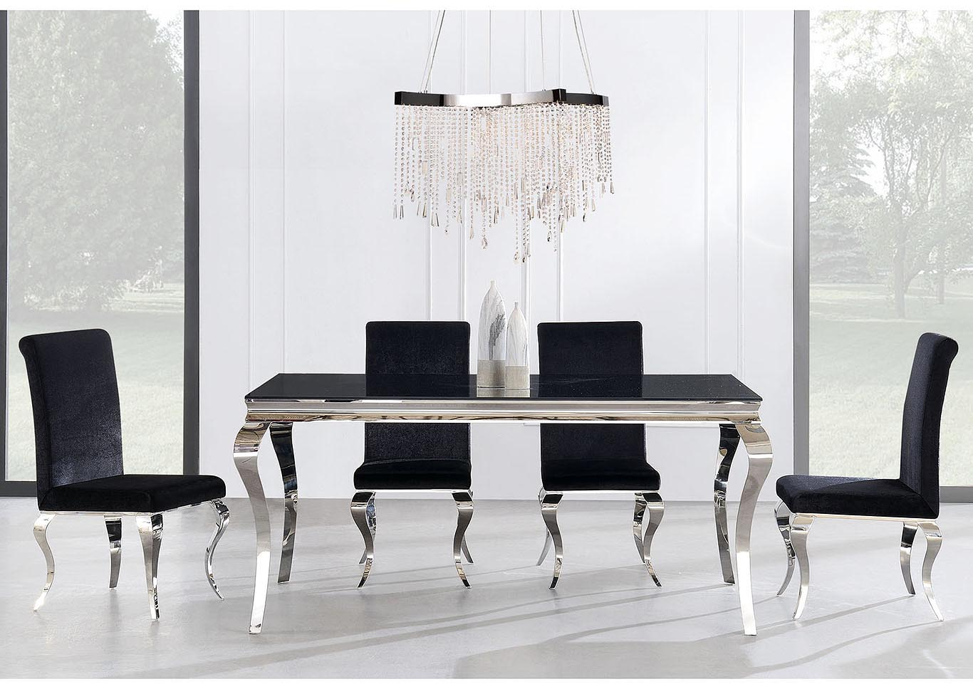 Black Glass-Top Dining Table w/4 Chair,Global Furniture USA