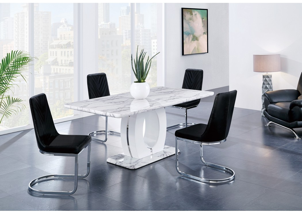 White Marble Dining Table w/4 Black Dining Chair,Global Furniture USA
