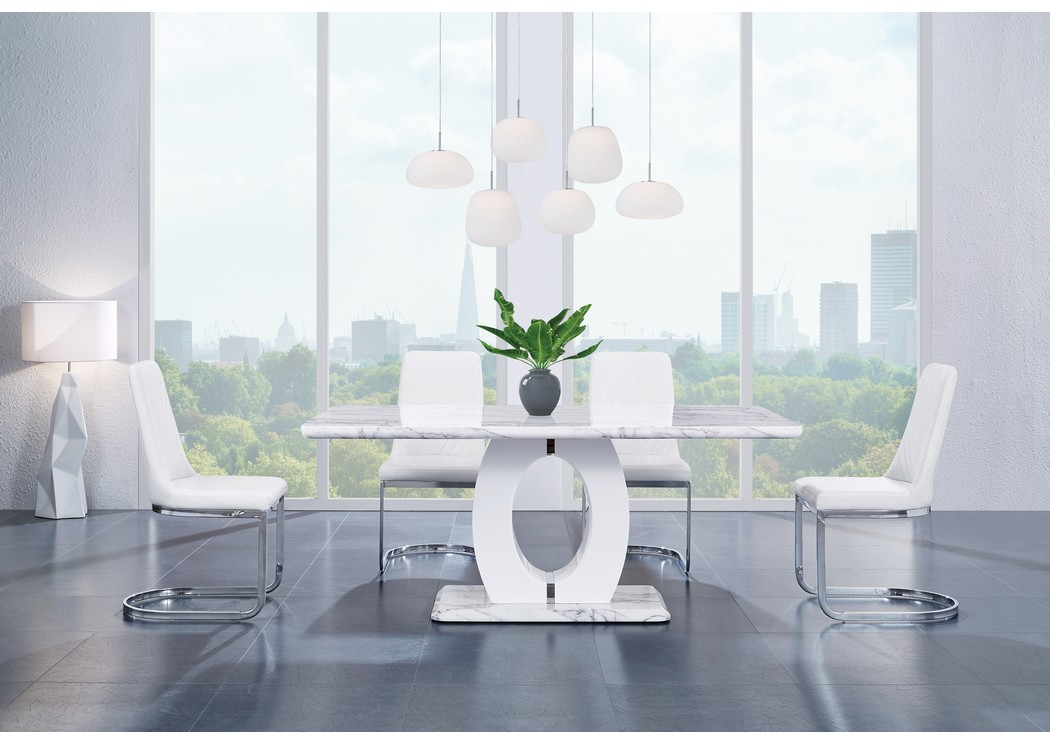 White Marble Dining Table w/4 White Dining Chairs,Global Furniture USA
