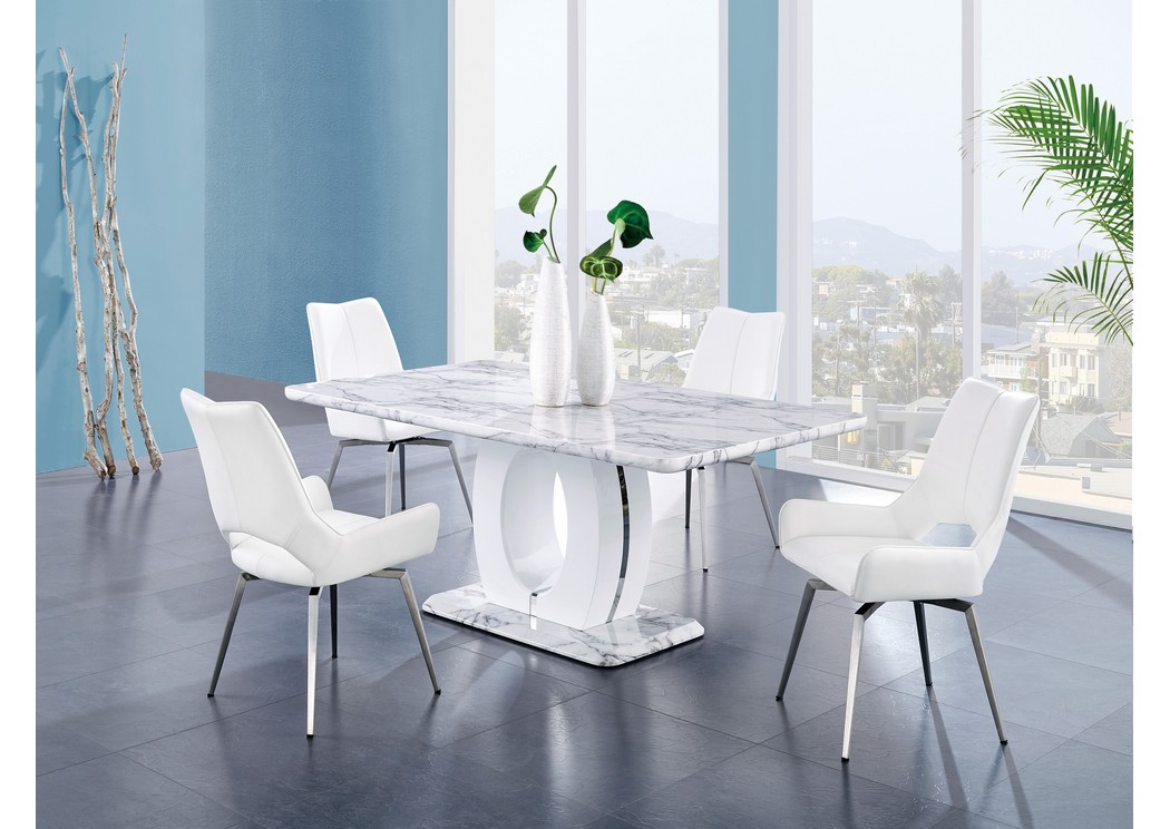 White Marble Dining Table W/4 Dining Chairs,Global Furniture USA