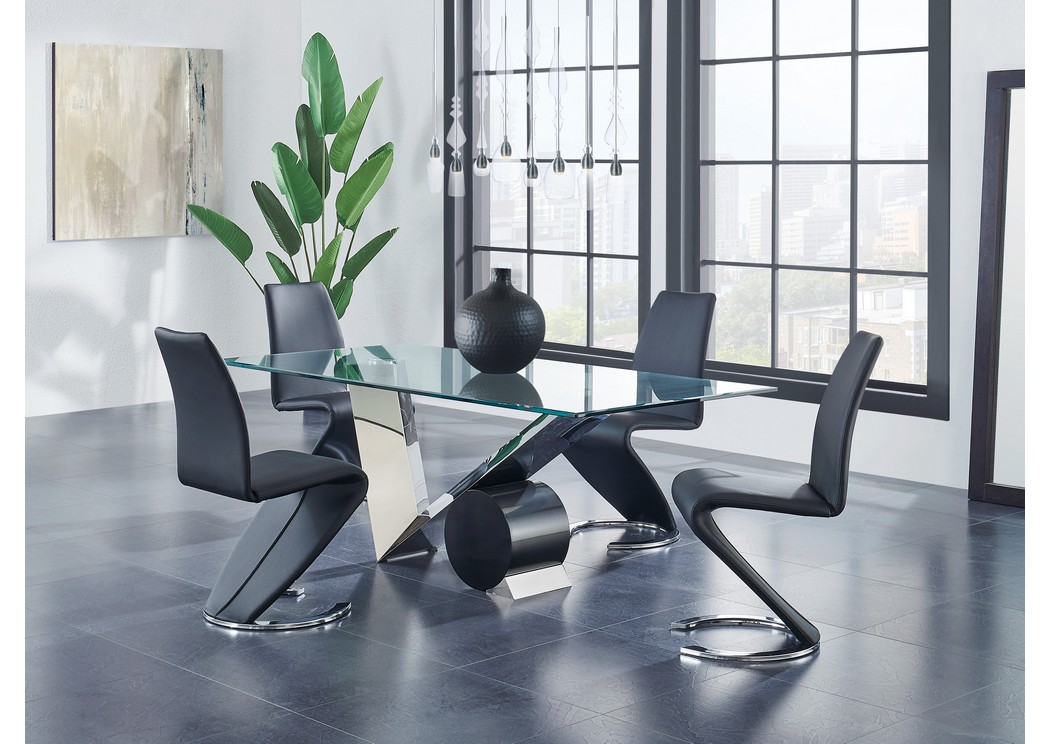 Matte Black/Stainless Steel Dining Table w/4 Black Dining Chair,Global Furniture USA