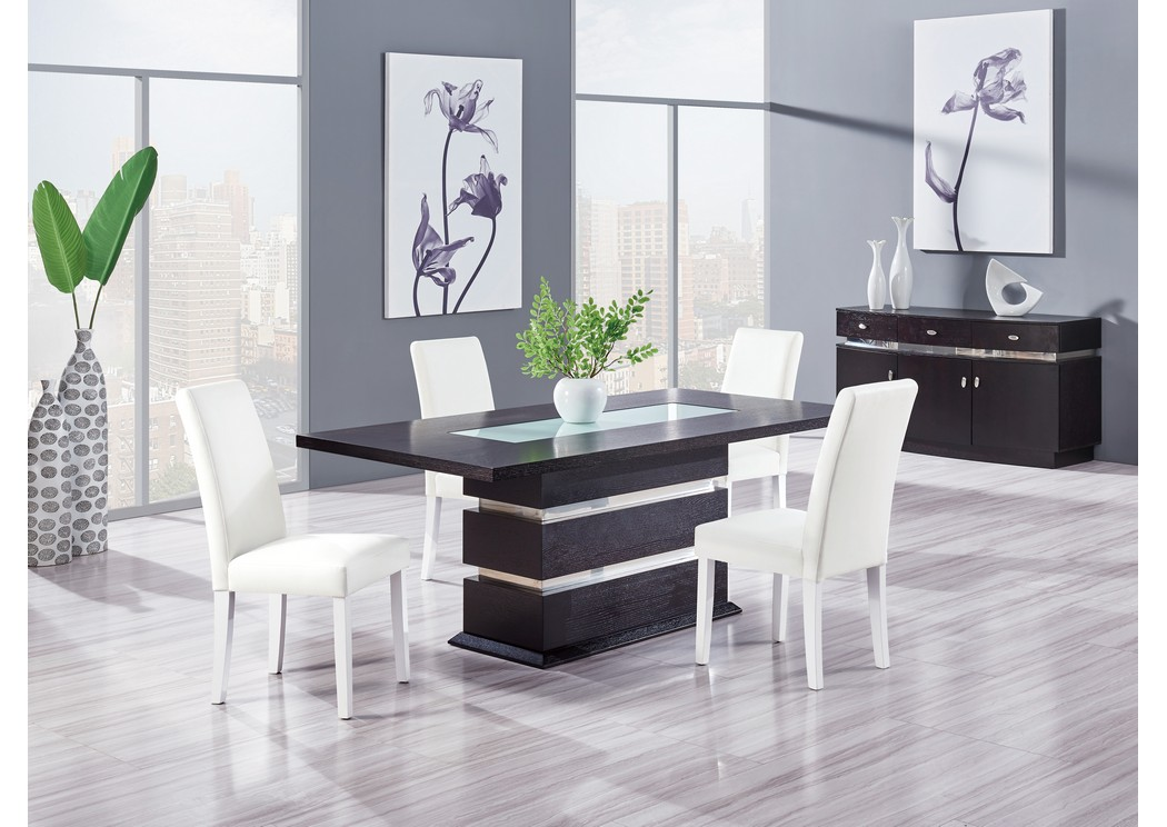 Wenge Glass Insert Dining Table W 4 ChairsGlobal Furniture USA