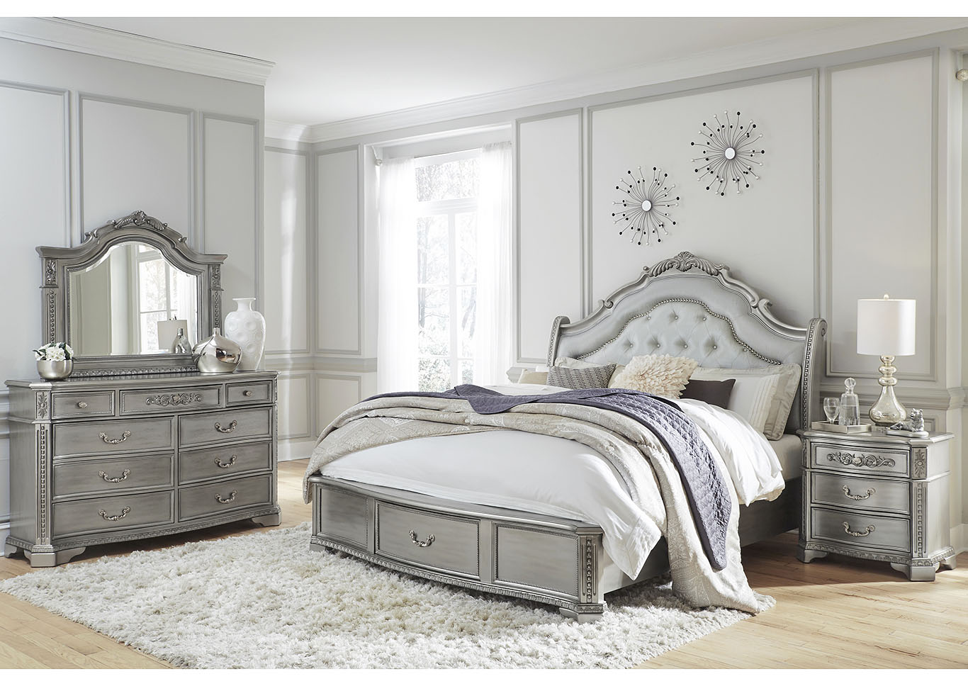 Juliet Silver King Storage Bed w/Dresser and Mirror,Global Furniture USA