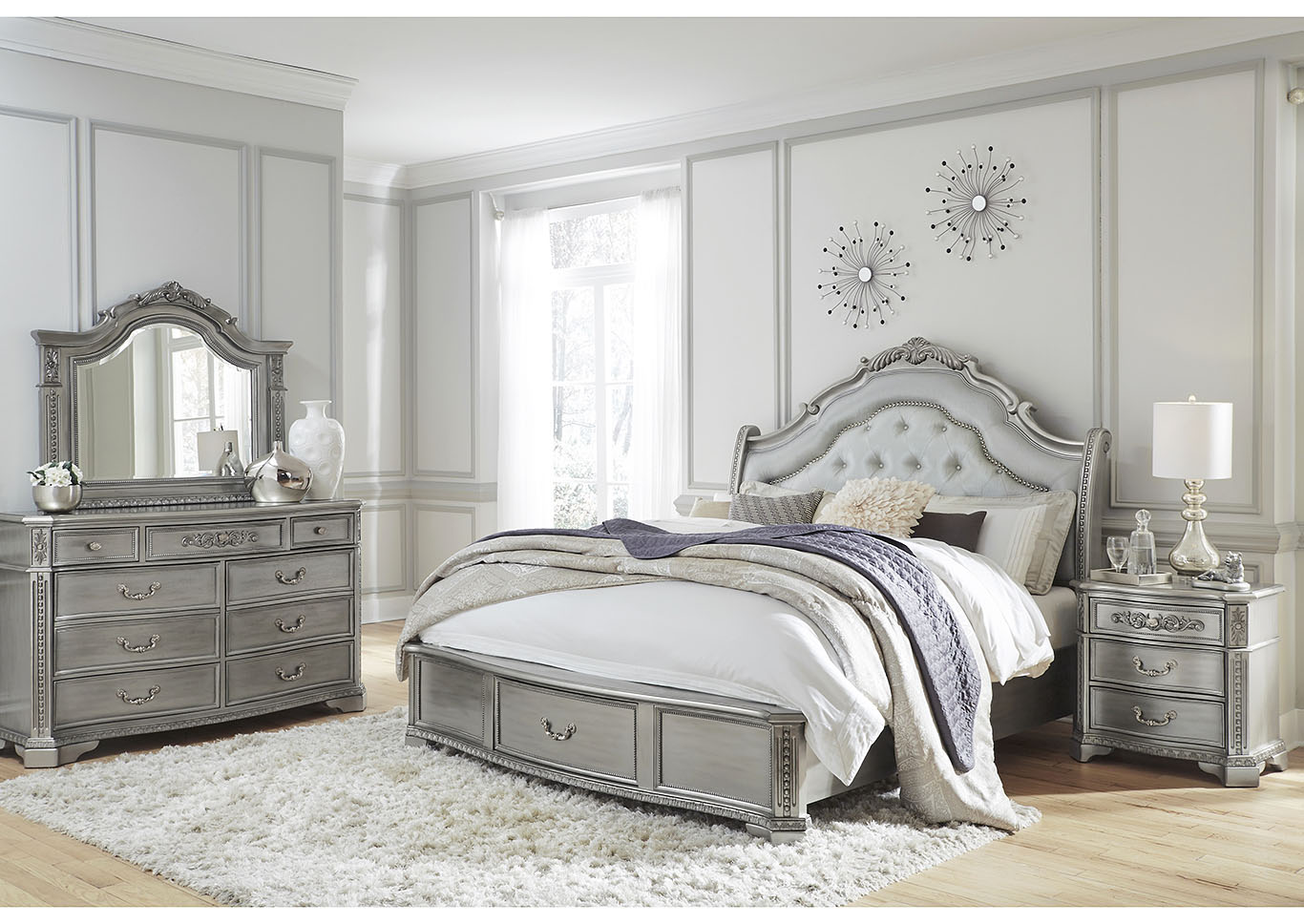Juliet Silver Queen Storage Bed w/Dresser and Mirror,Global Furniture USA