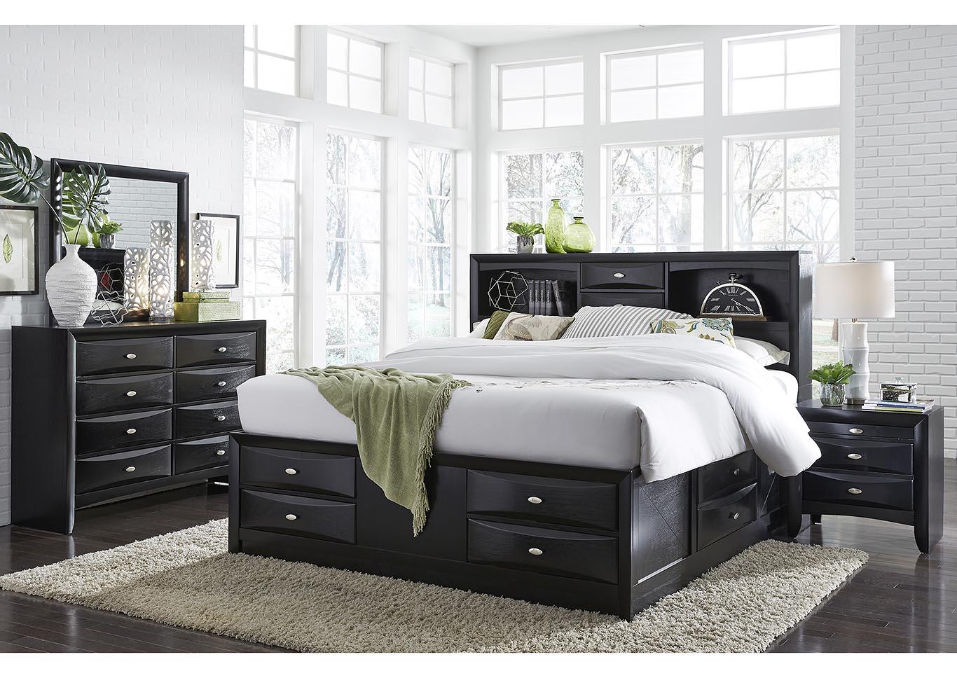 Linda Black Queen Storage Bed W/Dresser, Mirror, Nightstand And Drawer  Chest,