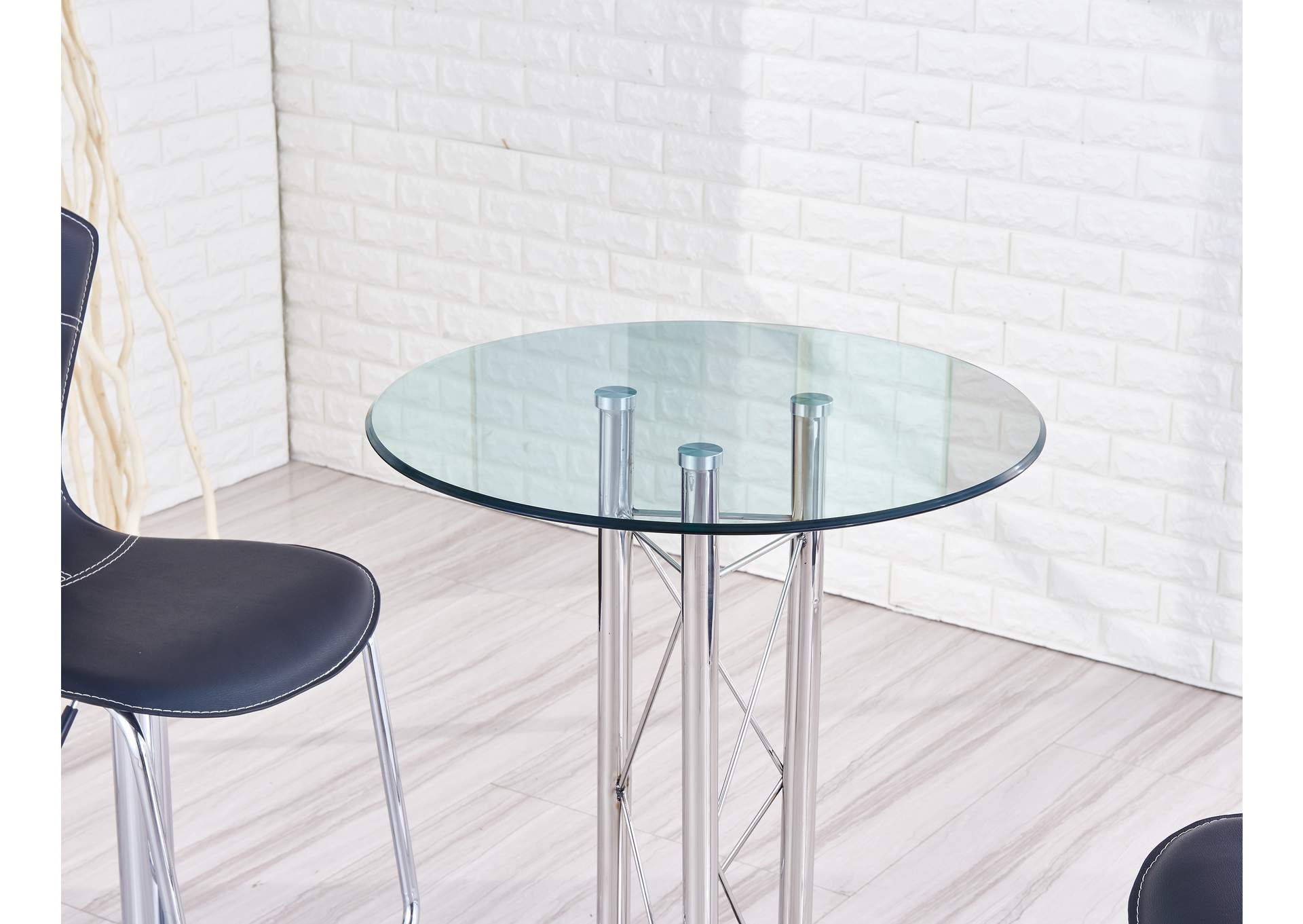 Black/Chrome Bar Table,Global Furniture USA