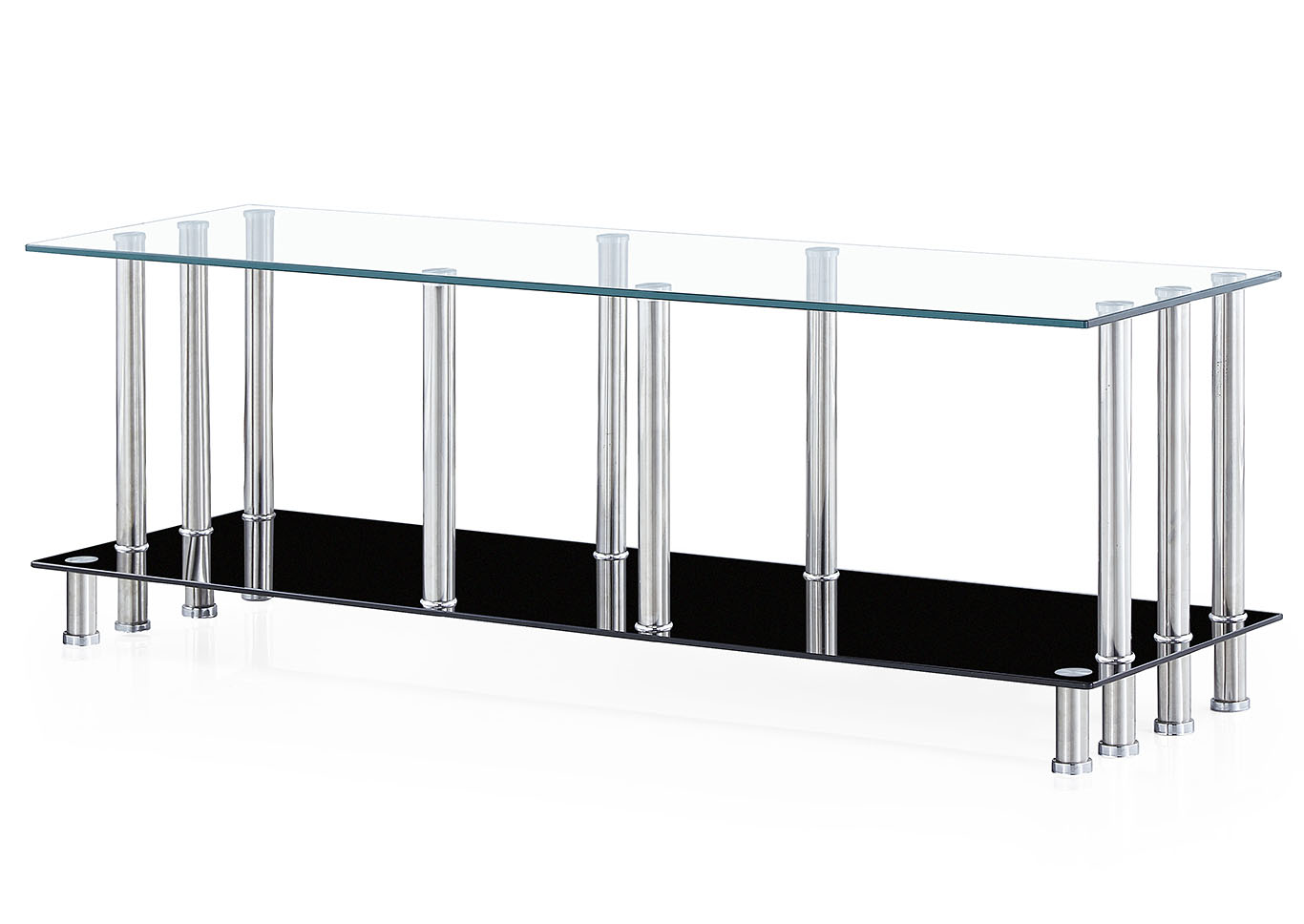 Glass Top TV Stand w/Chrome Legs & Black Base,Global Furniture USA