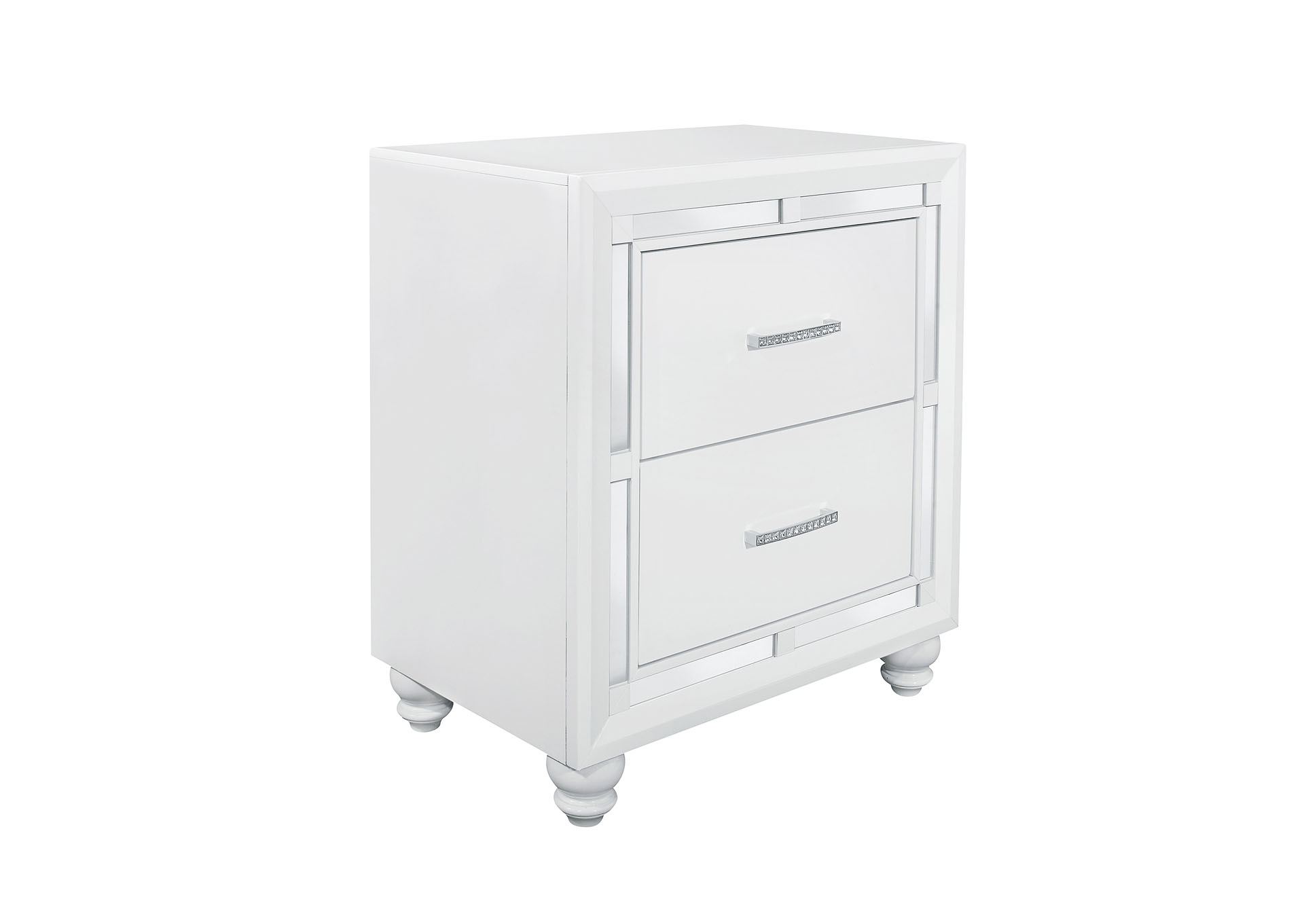 American Furniture Design Mackenzie White Silver Nightstand