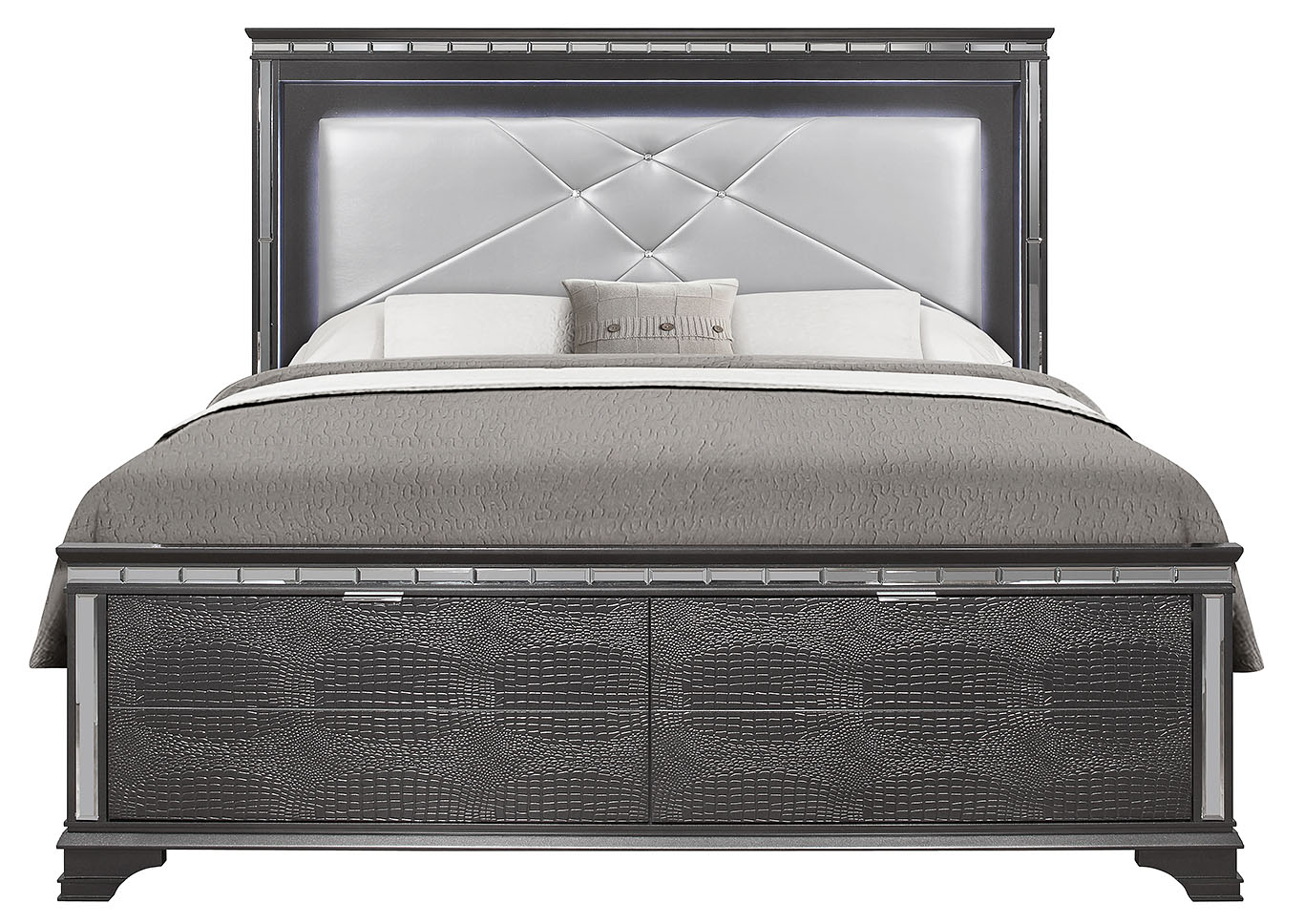 Penelope Metallic Grey King Bed,Global Furniture USA