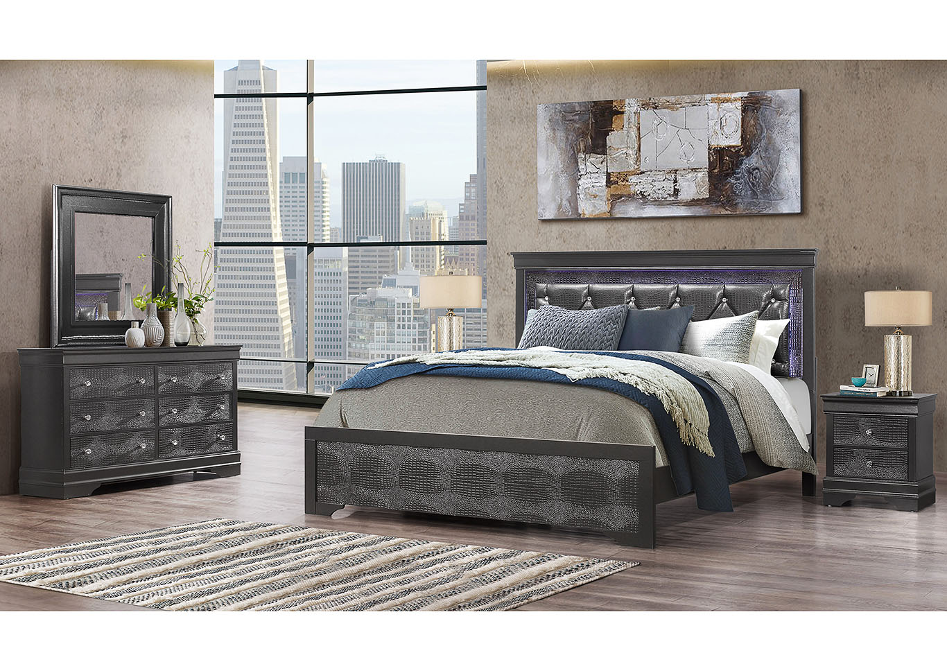 Pompei Metallic Grey Queen Bed,Global Furniture USA