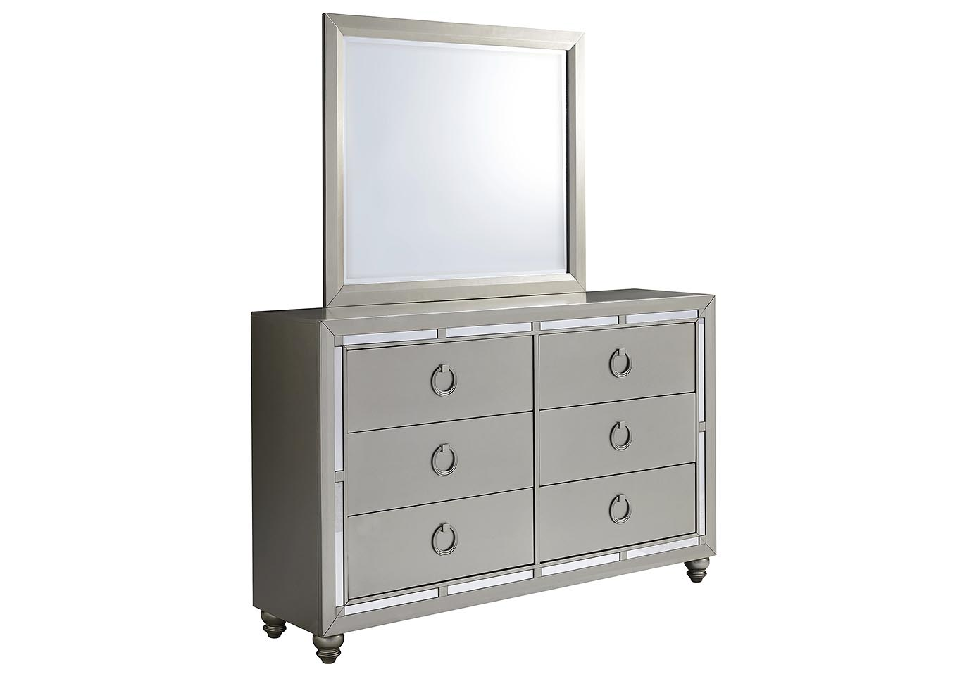 Riley Silver Dresser and Mirror,Global Furniture USA