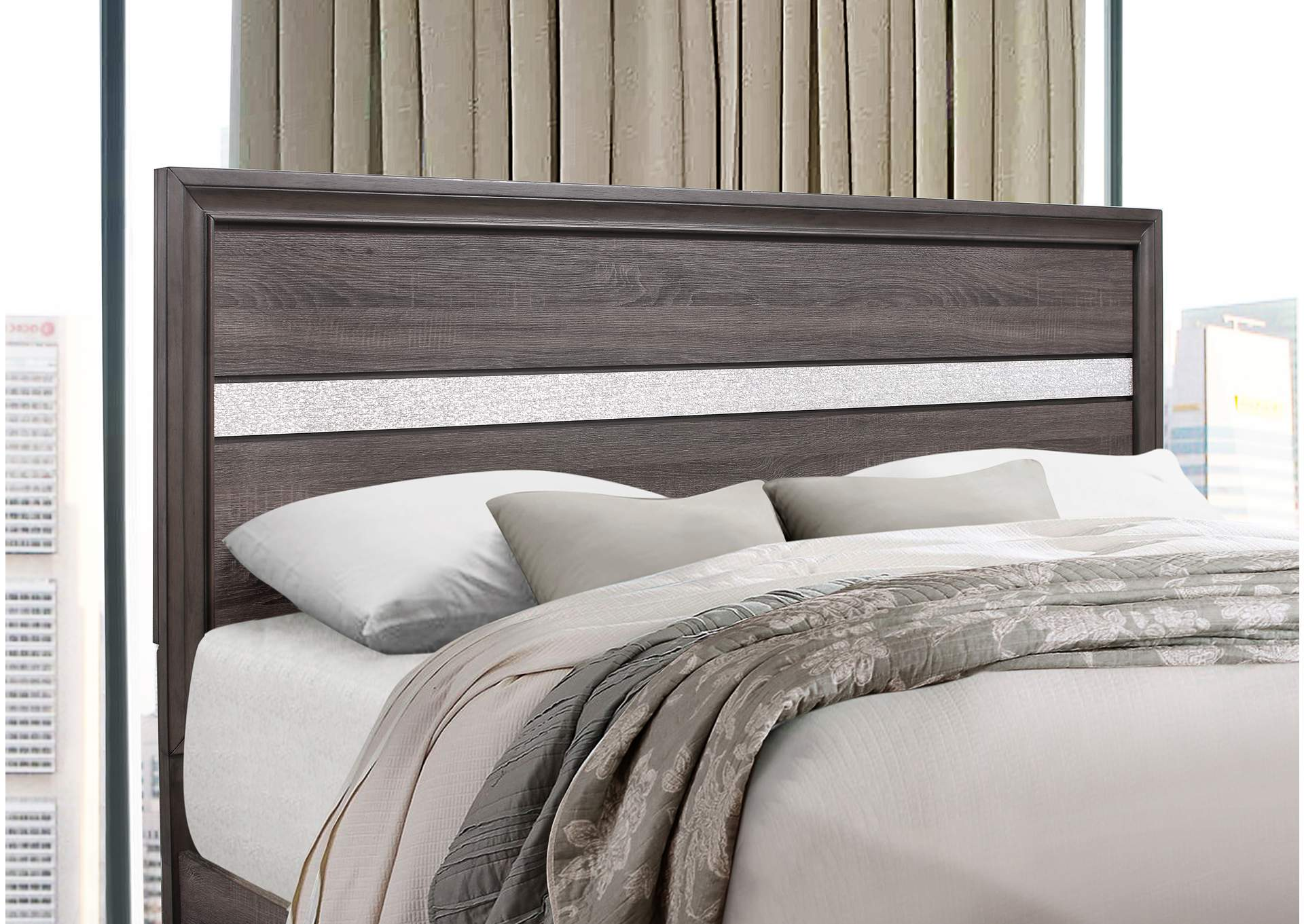 Seville Grey Queen Bed,Global Furniture USA