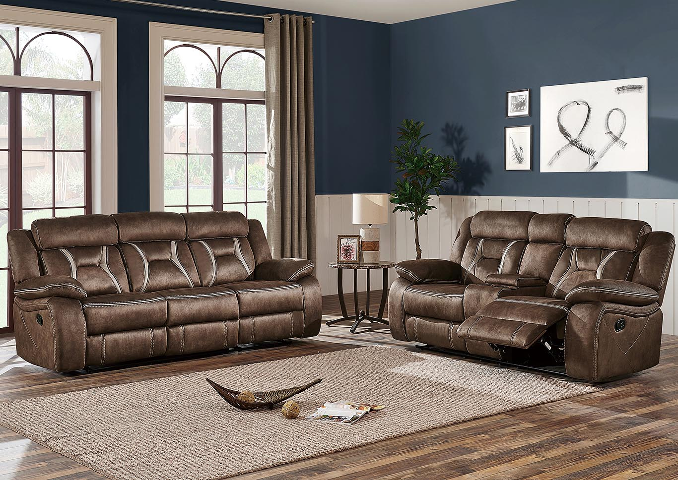 Sultry Dark Brown Reclining Sofa & Loveseat w/Console,Global Furniture USA
