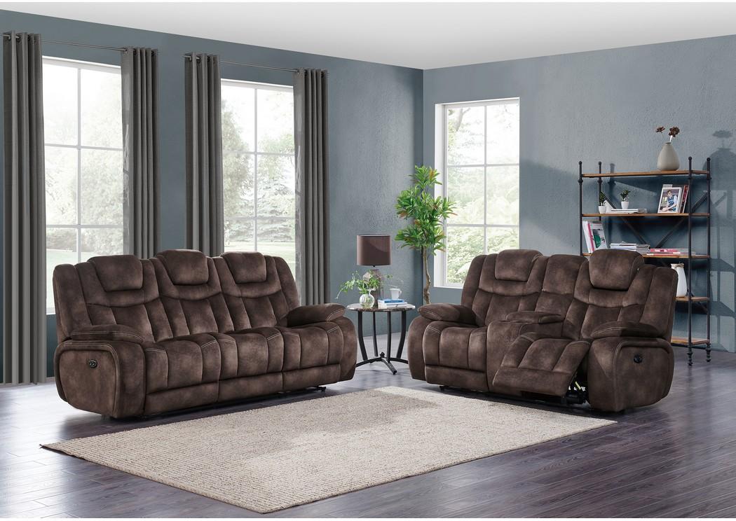 Ace Furniture And Decor Night Range Chocolate Power Reclining Sofa