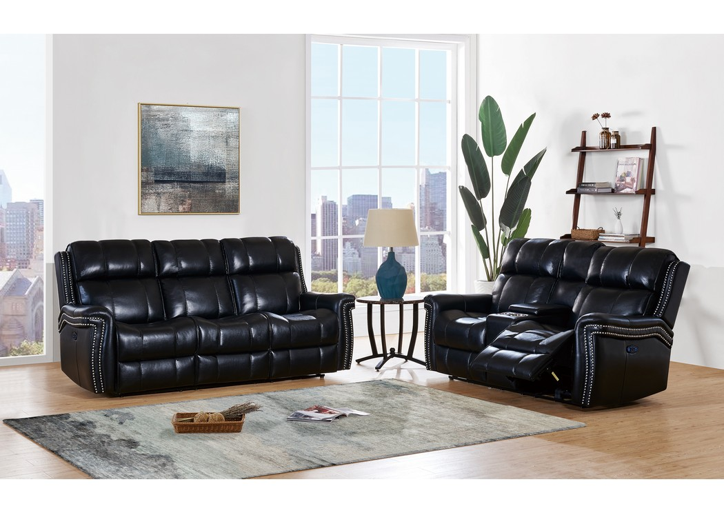 Just Furniture Blanche Black Power Reclining Sofa And Loveseat W