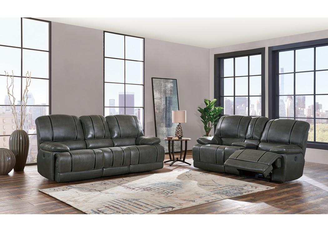 Gin Rummy Charcoal Grey Power Reclining Sofa And Loveseat W/USB,Global  Furniture USA