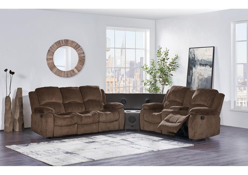 Subaru Coffee Reclining Sofa W/Drop Down Table And Loveseat W/Console,Global