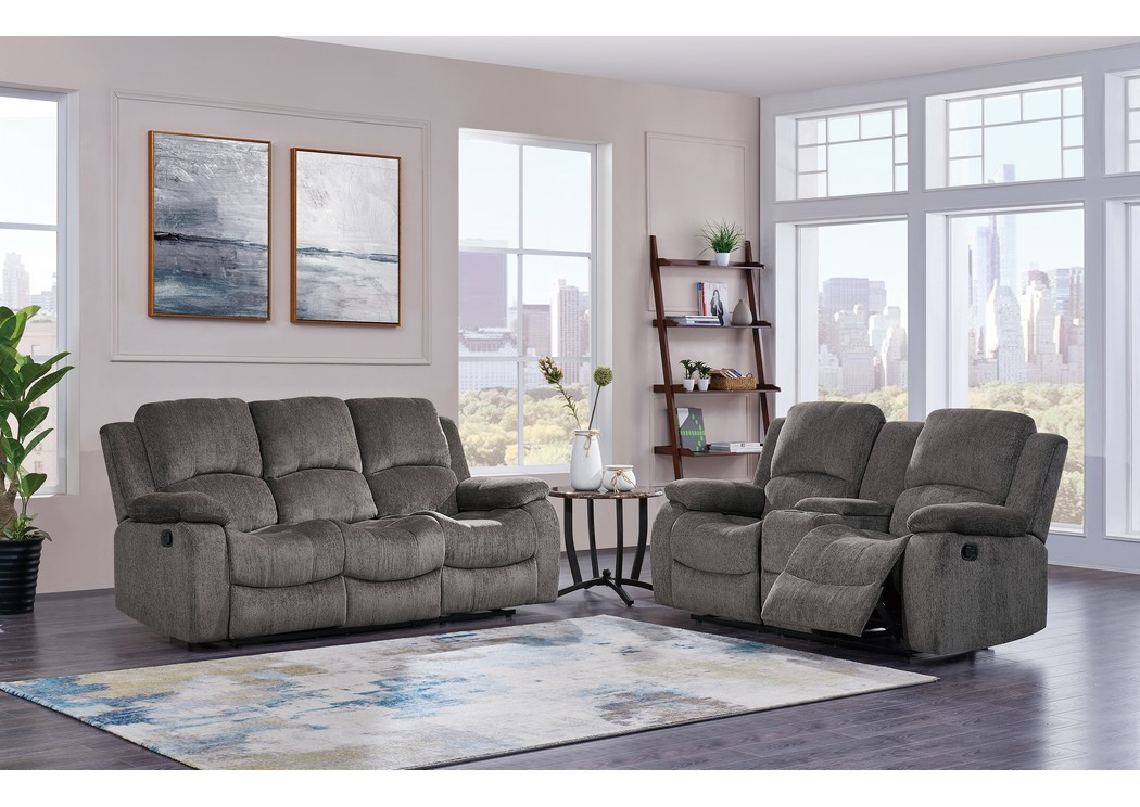 H A Furniture Subaru Mocha Gray Reclining Sofa W Drop Down Table