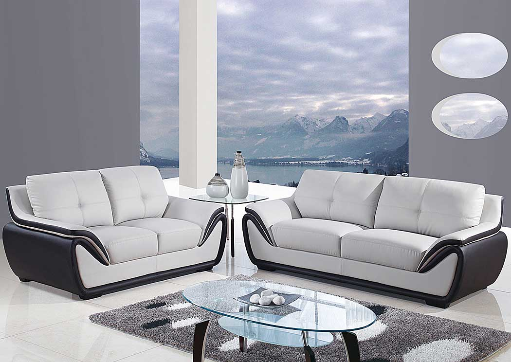 H & A Furniture Natalie Light Grey/Black Sofa & Loveseat