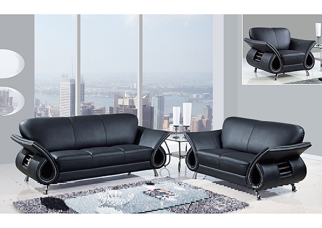 Furniture Direct NJ Black Leather Sofa & Loveseat