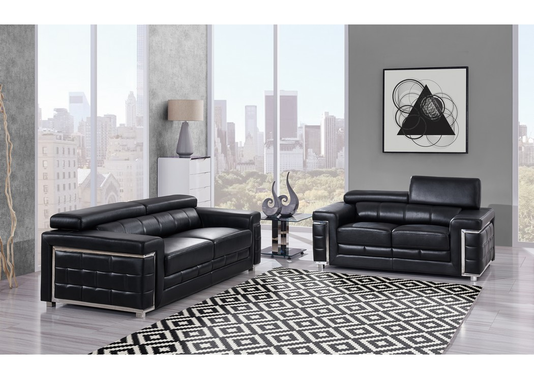 Robinson Furniture Detroit Blanche Black Leather Sofa And Loveseat