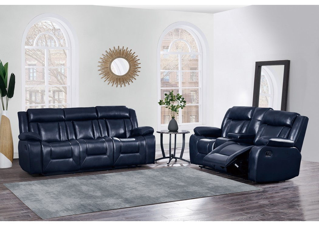 Navy Blue Reclining Sofa And Reclining Loveseat W/Console,Global Furniture  USA