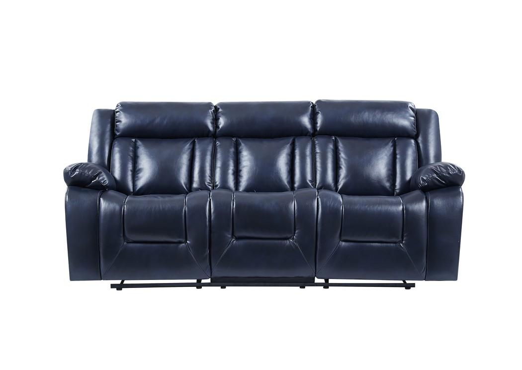 507720 Navy Blue Reclining Sofa