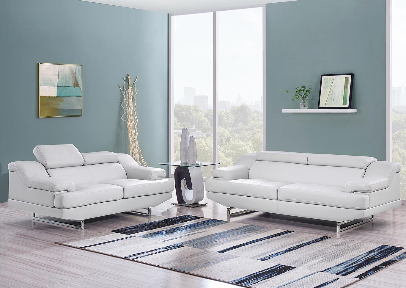 Natalie Light Grey Sofa & Loveseat,Global Furniture USA