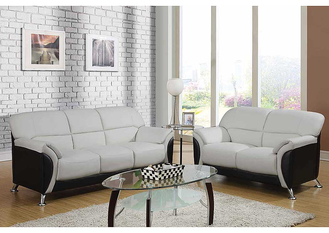 Light Gray Black Sofa LoveseatGlobal Furniture USA