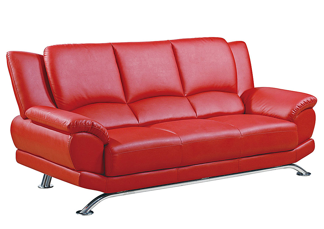 Red Bonded Leather Sofa,Global Furniture USA