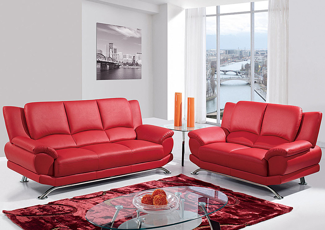 Kirk Imports Red Sofa & Loveseat w/Chrome Legs