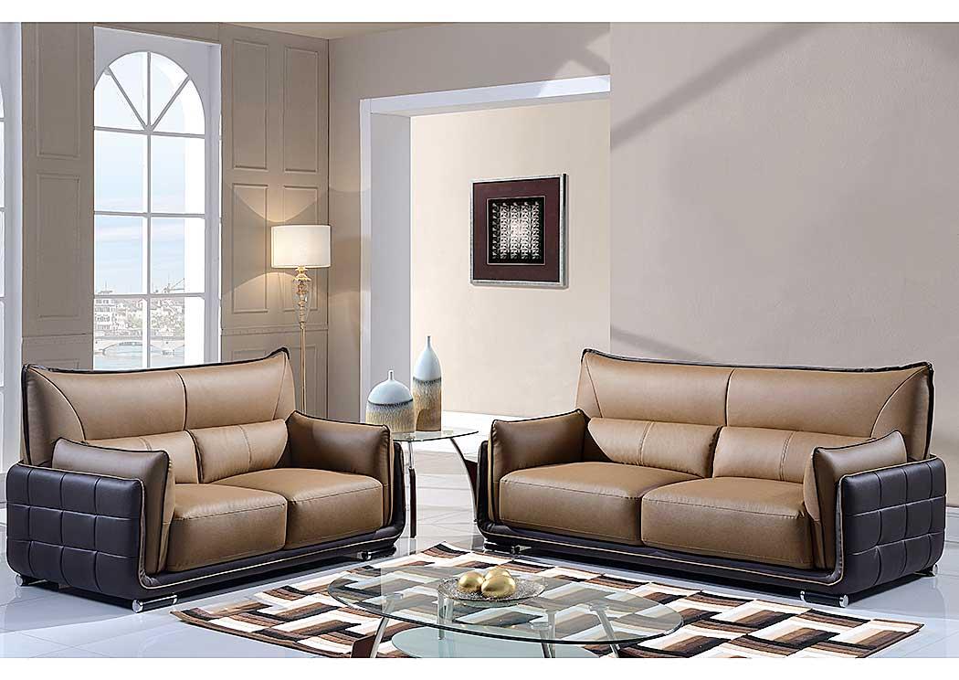 Light Brown U0026 Dark Brown Sofa U0026 Loveseat,Global Furniture USA