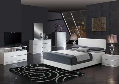 White Full Platform Bed w/Aurora Dresser and Mirror