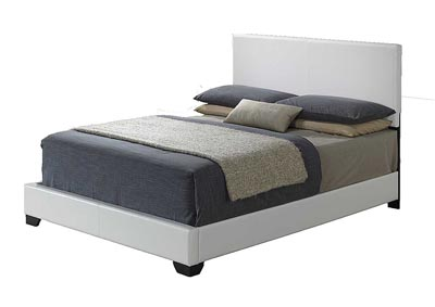 White Gloss Full Platform Bed