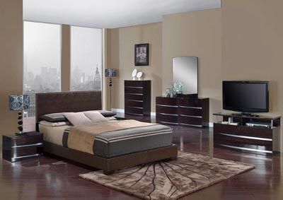 Aurora Brown/Wenge Full Upholstered Platform Bed w/Dresser, Mirror, Nightstand and Drawer Chest