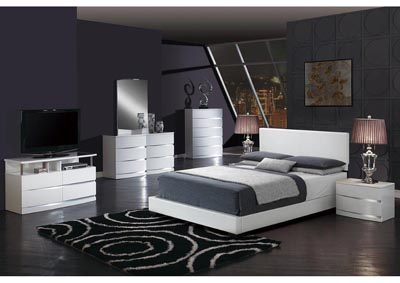 Aurora White/White King Upholstered Platform Bed w/Dresser, Mirror, Nightstand and Drawer Chest