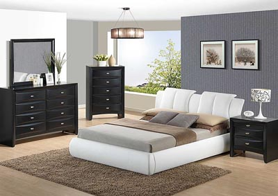 White Queen Upholstered Platform Bed w/Linda Dresser and Mirror