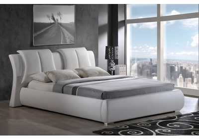 White Queen Upholstered Platform Bed