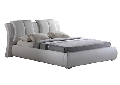 White King Upholstered Platform Bed