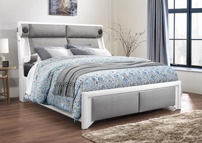 Image for 9652 White W/Grey King Bed