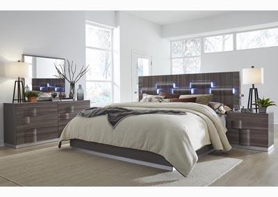 H & A Furniture Adel Zebra Wood/Grey Queen Bed