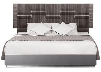 Adel Zebra Wood/Grey Queen Platform Bed