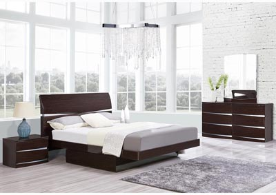 Aurora Wenge King Storage Platform Bed w/Dresser and Mirror