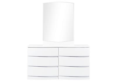 Aurora White Dresser and Mirror