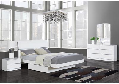 Aurora White Full Platform Bed w/Dresser, Mirror, Nightstand and Drawer Chest