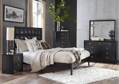 Carolina Black Upholstered Platform King Bed w/Dresser & Mirror