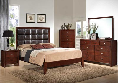 Carolina Cherry/Brown Upholstered Platform King Bed w/Dresser & Mirror