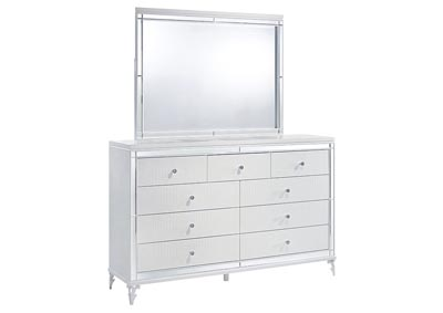 Catalina Metallic White Dresser and Mirror