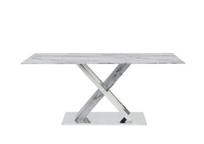 Image for D1274DT Faux Marble/Stainless Steel Dining Table